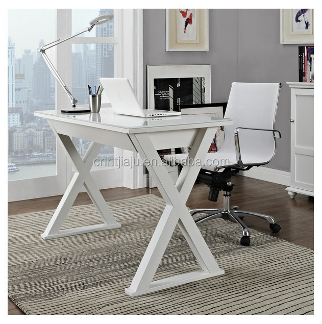 48 in. White Glass Metal Computer Desk/ Simple Desk Home Office Furniture