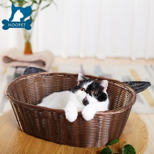 2017 New design cat ears rattan nest wholesale dog pet bed cat beds