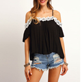 Latest styles wholesale price in fashion Woman black Contrast Lace Cold Shoulder high low blouse