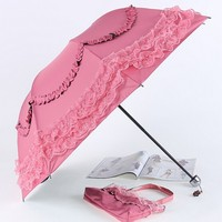 hot sale micro ruffle edge fold umbrella