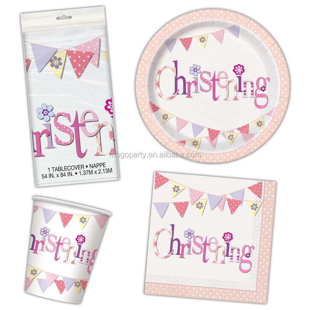 Girl's Pink Baby Bunting Christening Party Plates Cups Napkins Tableware Listing