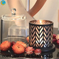 laser ethed scented candle jar with glass dome black Medium