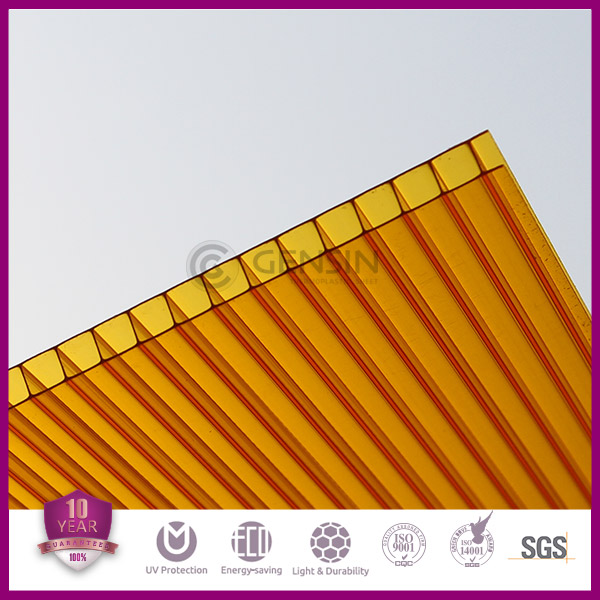 Haining Polycarbonate Hollow Sheet 100% Virgin Sabic Lexan Raw Material UV Coating Heat Insulation Sun Sheet Panel Hot Sale 6mm