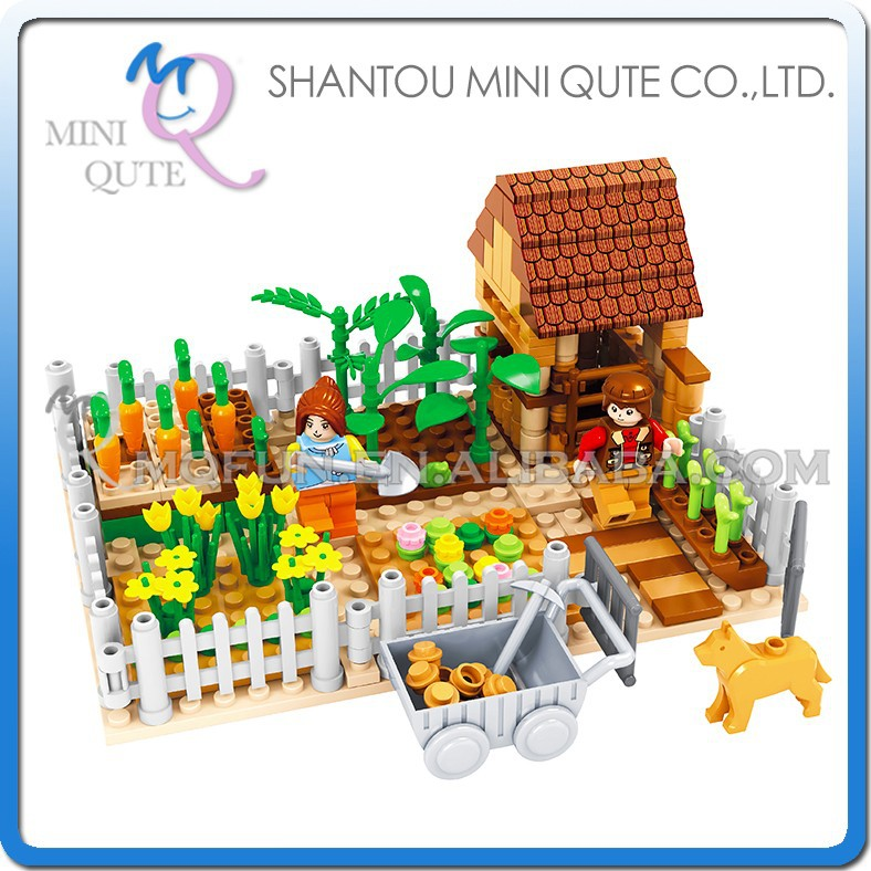 Mini Qute DIY kawaii boy farmer plant flower dog cart carrot action figure plastic building block model educational toy NO.28601