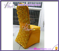 gold rosette spandex banquet chair covers for banquet chairs decoration