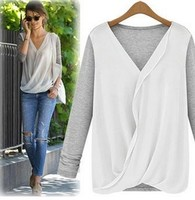 Z76285A 2015 Chiffon stitching knitted fashion women's clothing Lady's Top