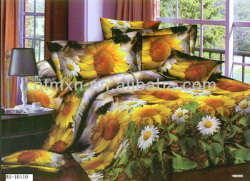 pure cotton fabric 3d reactive printing luxury bedding sunflower print bedding set