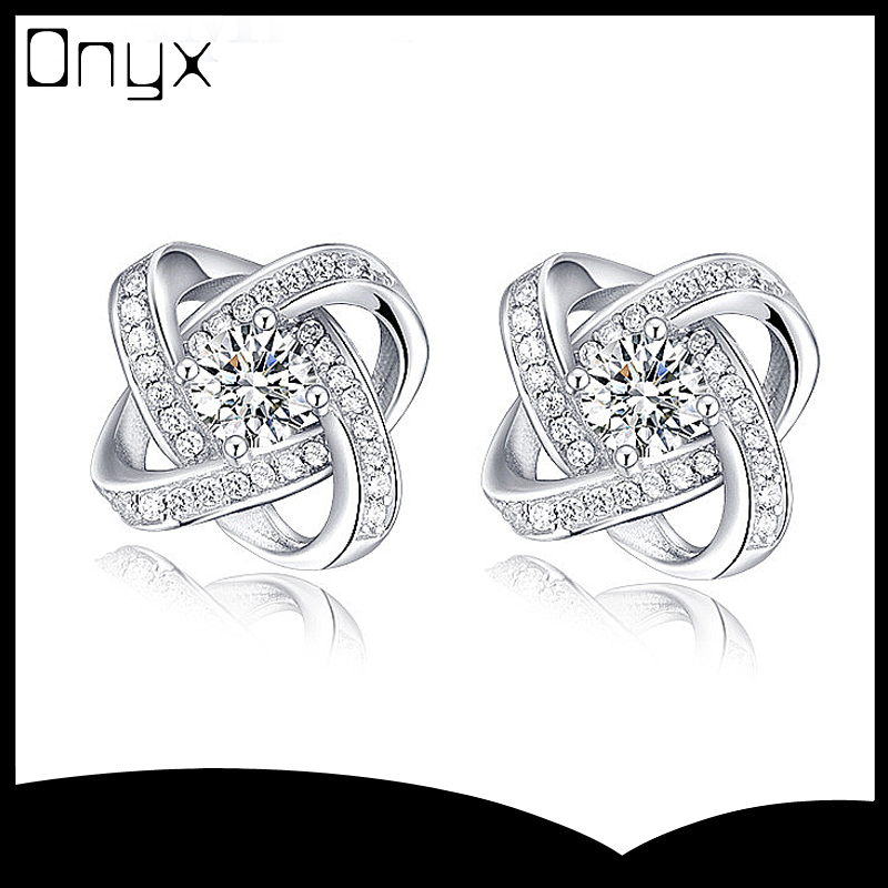 925 sterling silver double ring white pearl ear studs for women