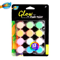 Best Selling 12*5ml Non-toxic Wholesale Glow In The Dark Paint Sets Cheap Portable Kids&Artists A0261