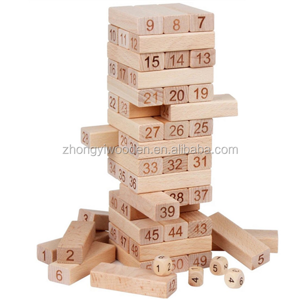 Children educational math toys tumbling tower games wooden building blocks