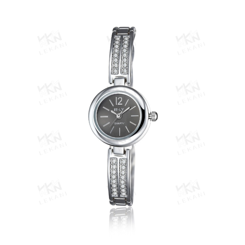 Trendy women watches with round dial, top white gold chain watch