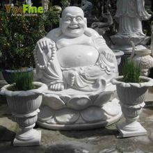 White marble laughing buddha water fountain