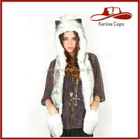 Faux Fur Animal Hats Spirit Hoods Animal Husky Plush Animal Hats 3 in 1 Function With Ear Flaps and Hand Pockets