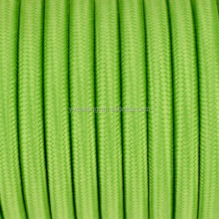 CE,VDE,SAA,KC approved two or three core bright green cotton textile covered fabric cable