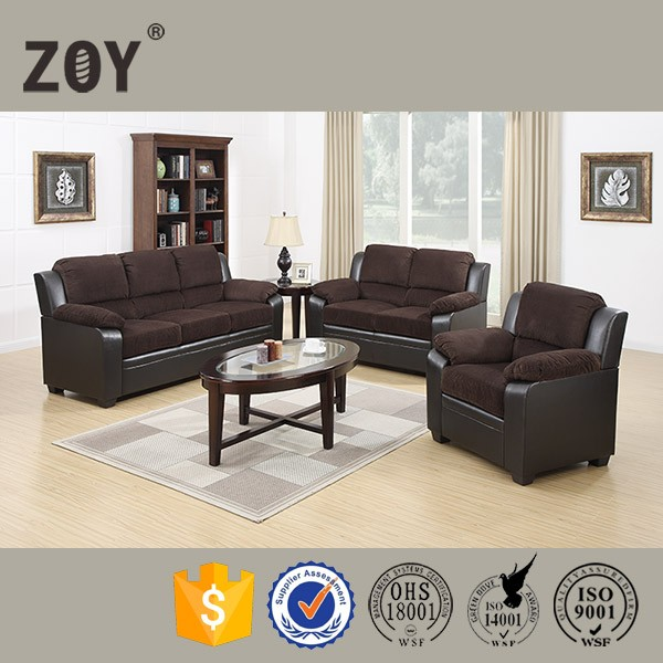 Latest design American style living room Fabric match leather sofa set ZOY 9803A