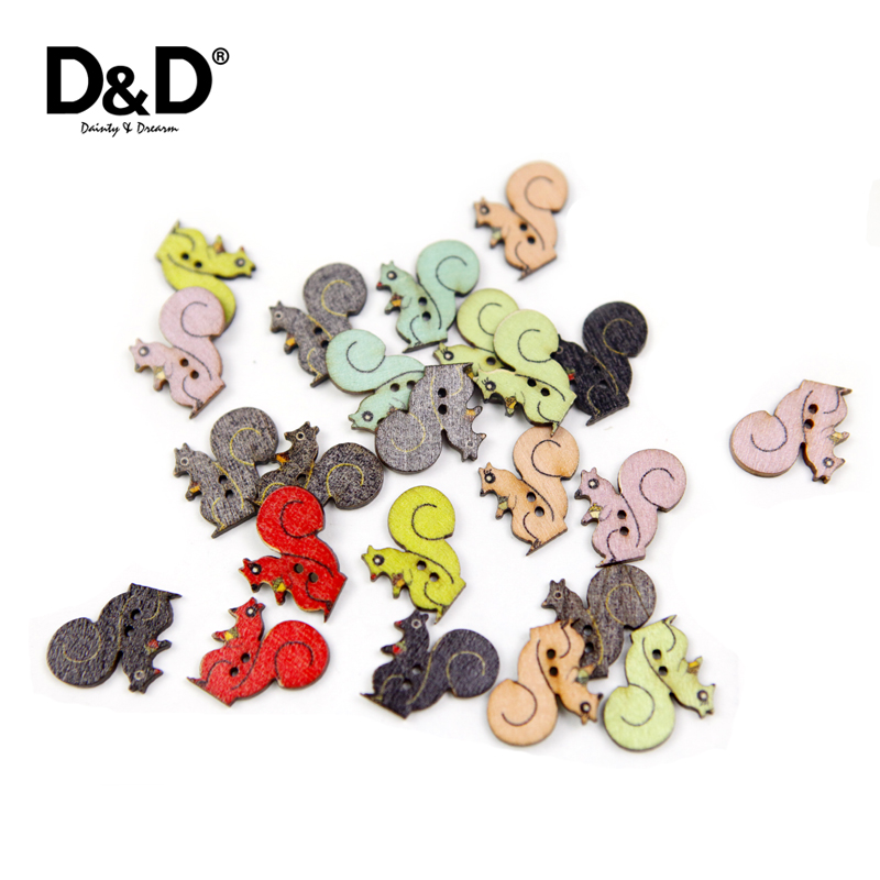 D&D 60Pcs/Lot 2 Holes Cartoon Cute Mix Color Squirrel-shape Wood Buttons for Child Clothing Sewing Accessory Button