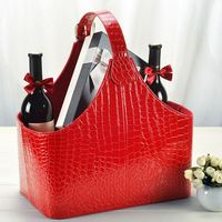 Leather Gift Basket Wooden MDF structure Fruits Flower Wine Storage box for Christmas gift with handle