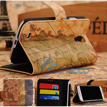 World Map Pattern Horizontal Flip Button Leather Case with Credit Card Slots & Holder for Samsung S4 i9500 (SG4-009)