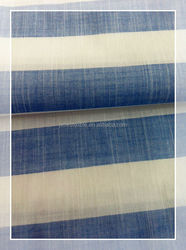 100% Cotton Stripe Fabric White and Blue
