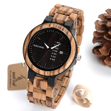 bobobird Newest Handmade Wood Wristwatch for Men with Week Display Date Quartz Watches Two-tone Wooden Dropshipping Customized