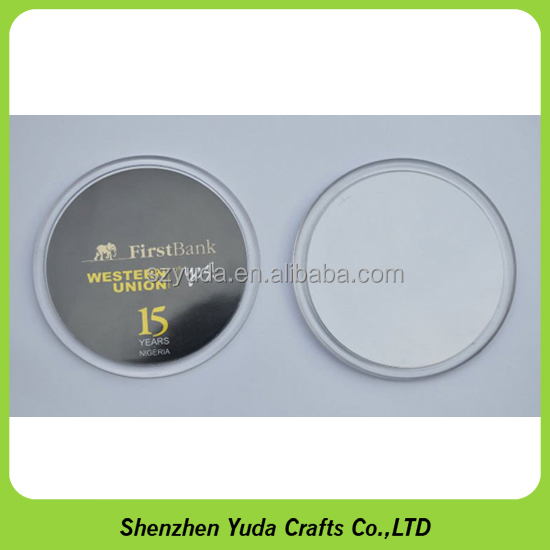 Acrylic Material Table Pad Coaster Round Plastic Coaster with Printed Artwork