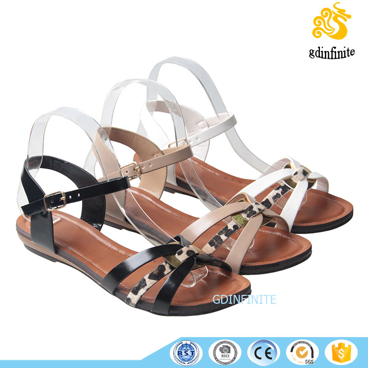 New Ankle Strap Stylish Leopard Design Sex Girl Indian Flat Summer Sandals 2017