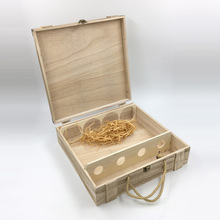 Wooden wine carrier box with accessories for wedding ceremony