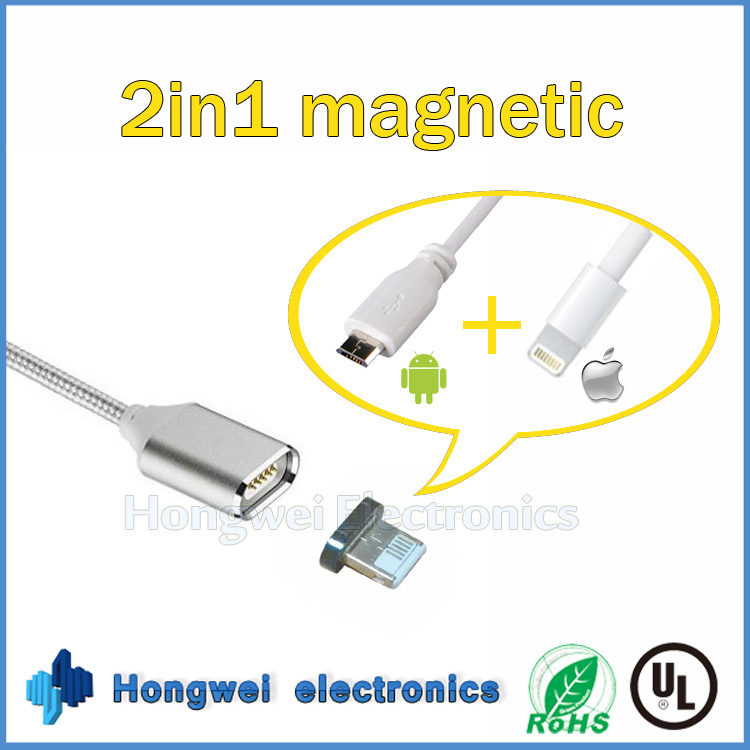 2 in 1 USB connector Magnetic USB data <strong>cable</strong> for charging both Android and iOS