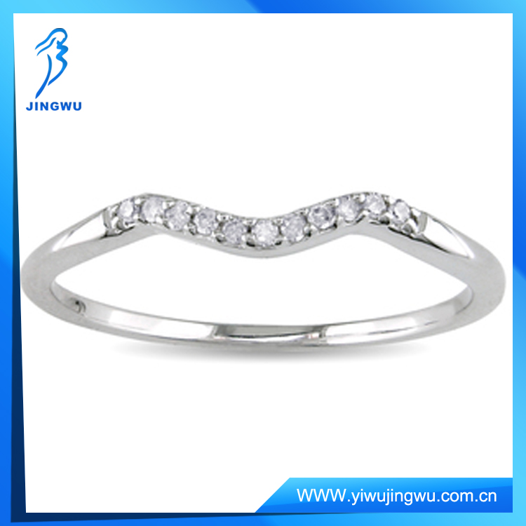 925 Sterling Silver Diamond Accent Curved Wedding Band