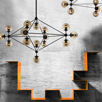 Hot Sell Modern Modo Pendant Black Metal With Amber Glass Chandelier Lighting