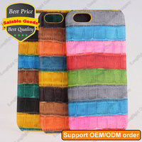 Rainbow Pattern Genuine Crocodile Leather Back Cover Case for iPhone 5 5S