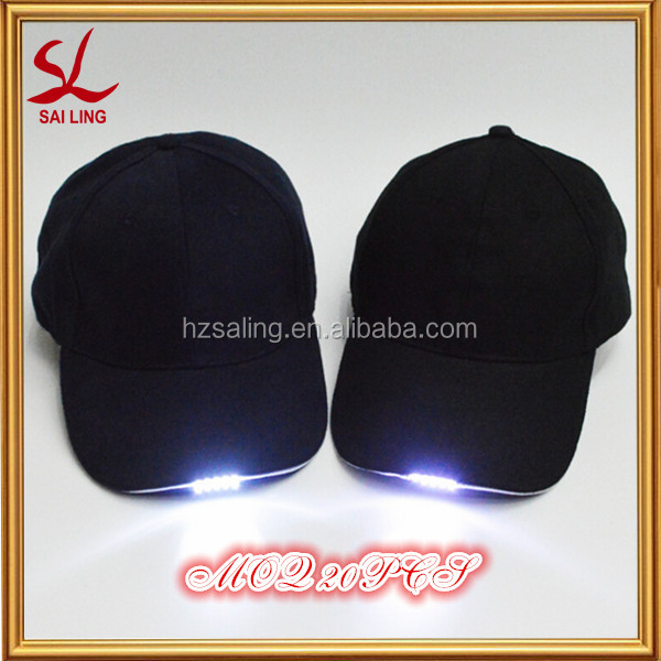 MOQ 20PCS!!! Hot Sale Brushed Cotton Baseball Cap With Built-in LED Light