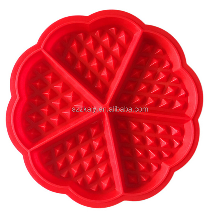 Heart Shape Waffle Mold 5-Cavity Silicone Oven Pan Baking Cookie Cake Muffin Cooking Tools