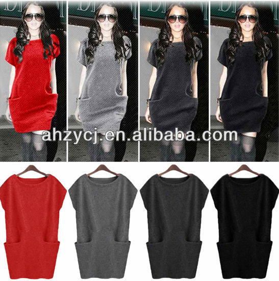 High quality design clothes short sleeve woman loose casual knitted autumn/winter fashion wool dress
