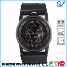 Minimalist and elegant design Automatic Watches Matte black stainless steel case Silver skeleton movement