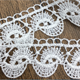 Wholesale 100% polyester white chemical crochet pattern embroidered lace trim