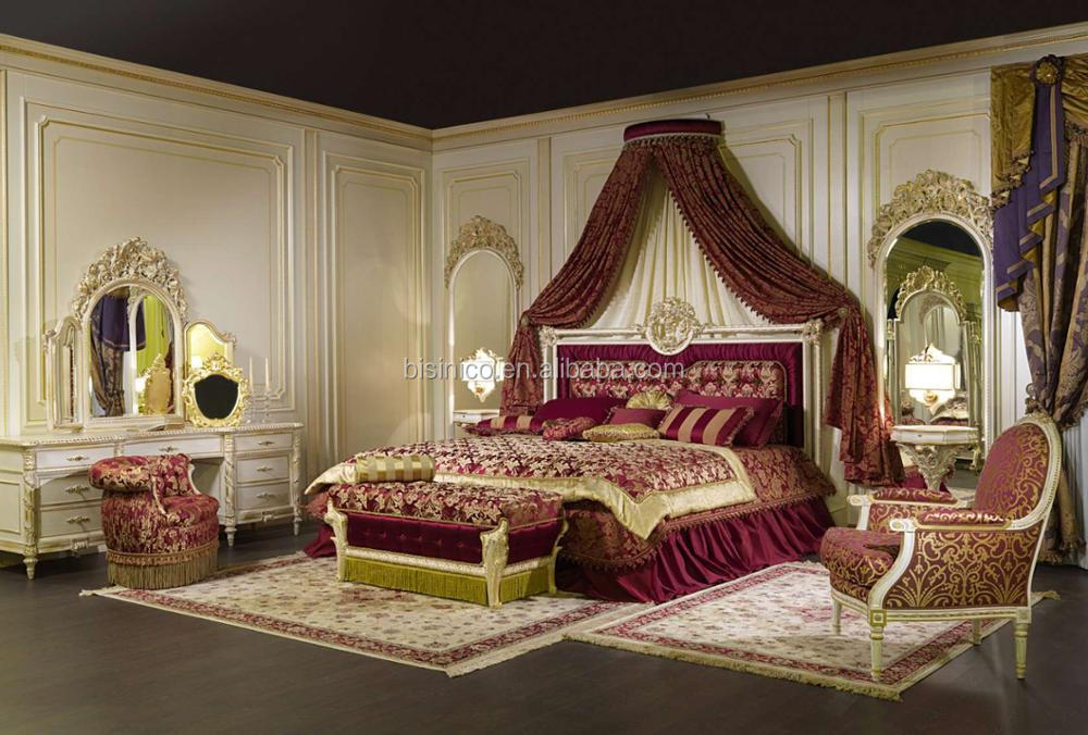 2018 NEW DESIGN Luxury European Wooden Hand Carved Ivory Canopy Bedroom Set, Classic Bedroom Furniture For Wedding Couples
