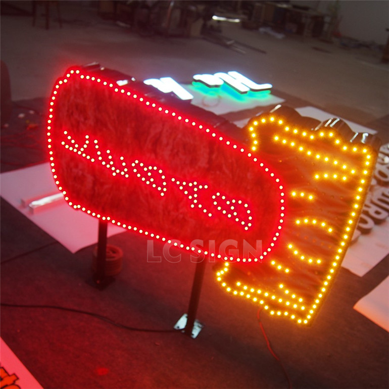 Creative Neon lamp light box with Barbecue shaped
