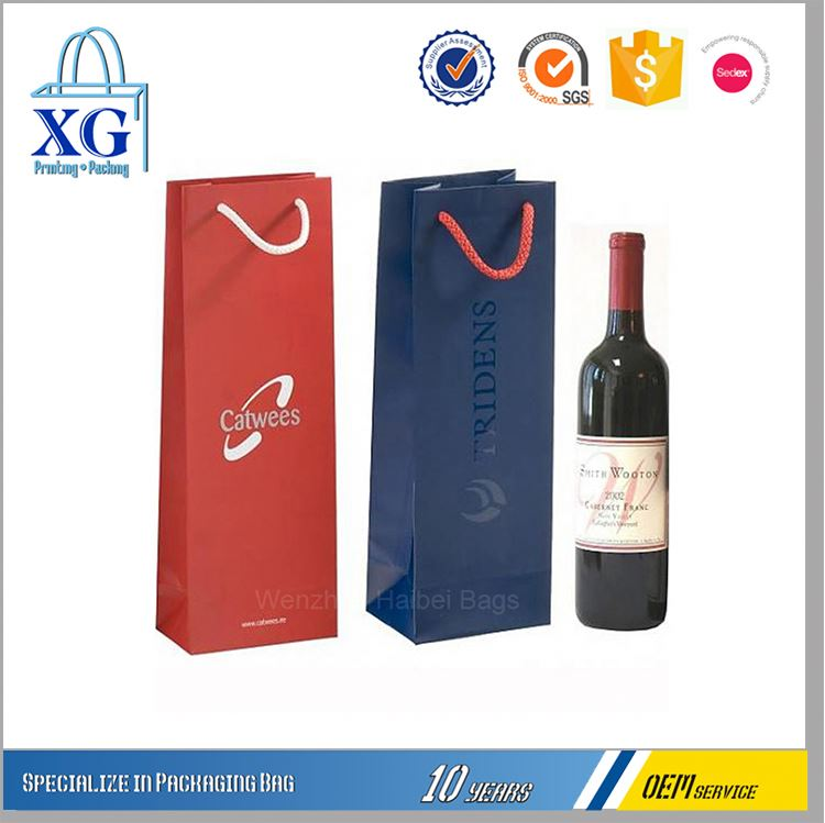 New products popular design luxury effect paper wine bag