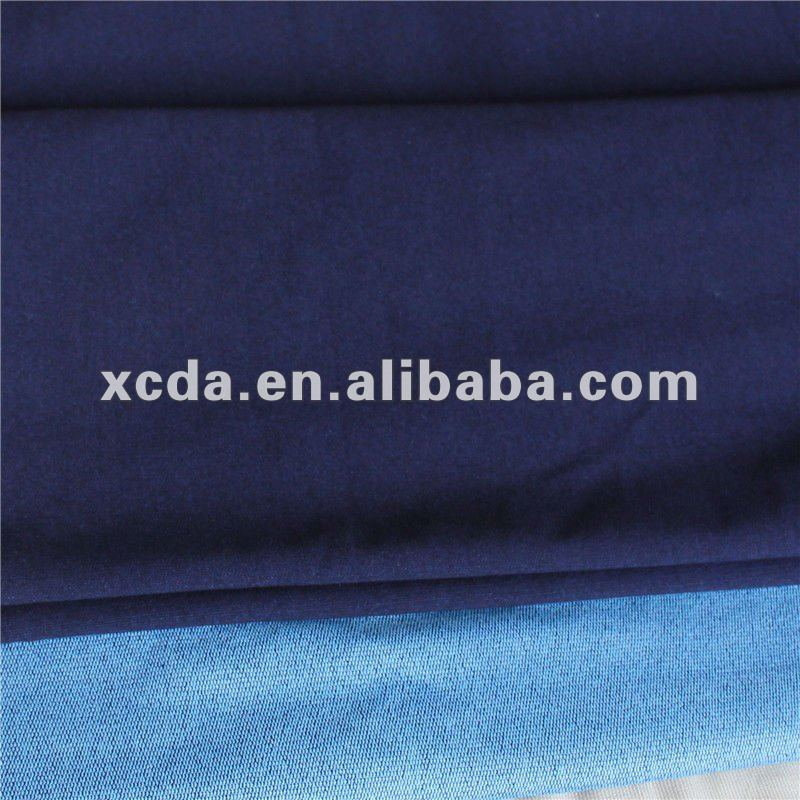 Indigo cotton spandex knitted denim fabric French Terry