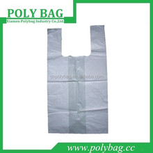 clear biodegradable t-shirt plastic bag for shopping with large side gusset