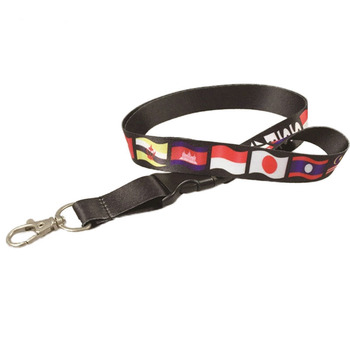 Metal buckle nylon material can be used for promotional country flag lanyard
