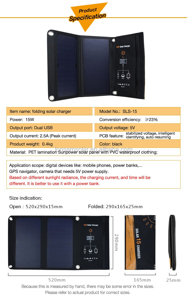 Monocrystalline silicon high power efficiency import solar panels foldable solar charger