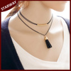 Best Selling Fashion Trendy black double layer leather tassel necklace/