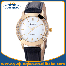 Popular Leather Quartz Wrist Watch Rhinestone Diamond Bezel Geneva Watch Women