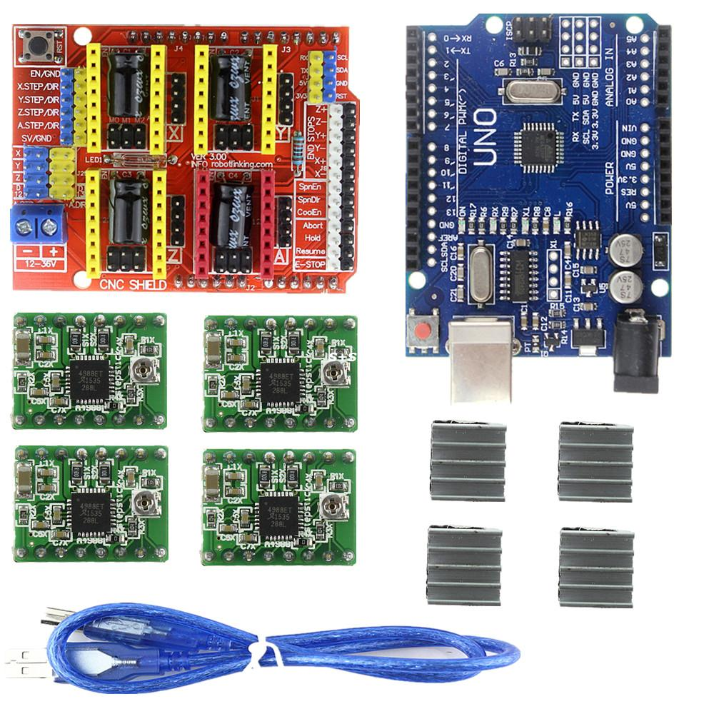 Good Quality! cnc shield v3 engraving machine 3D Printer+ 4pcs A4988 driver expansion board + UNO R3 with USB cable