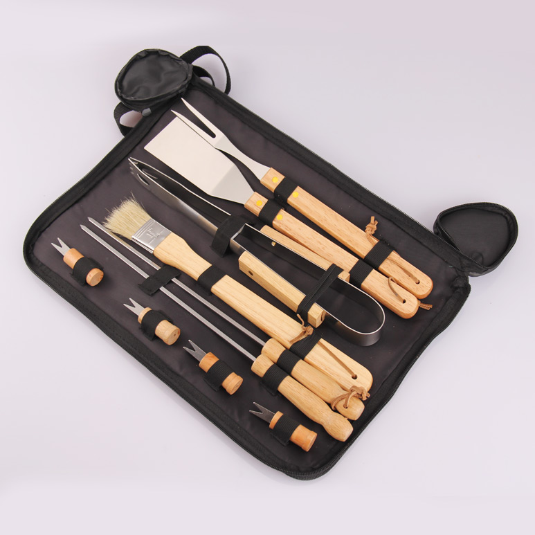 10pc wooden handle grill tool set with carry bag bbq tool
