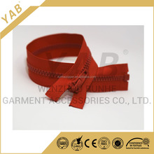 High Quality 5# Red Color Plastic Zipper Open End With Plastic Slider