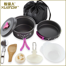 Lightweight Durable Compact Outdoors Cookware Mess Kit for Camping Includes Pots Bowls Utensils