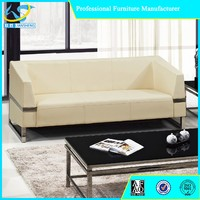 Hot selling living room leather sofa stainless steel frame sofa